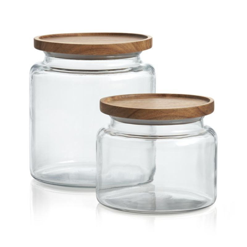 Montana Acacia And Glass Jars Acacia Glass Canisters