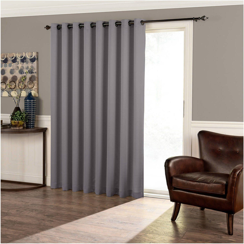 84 inch dark grey solid color blackout sliding door curtain gray sliding patio door panel window. Black Bedroom Furniture Sets. Home Design Ideas