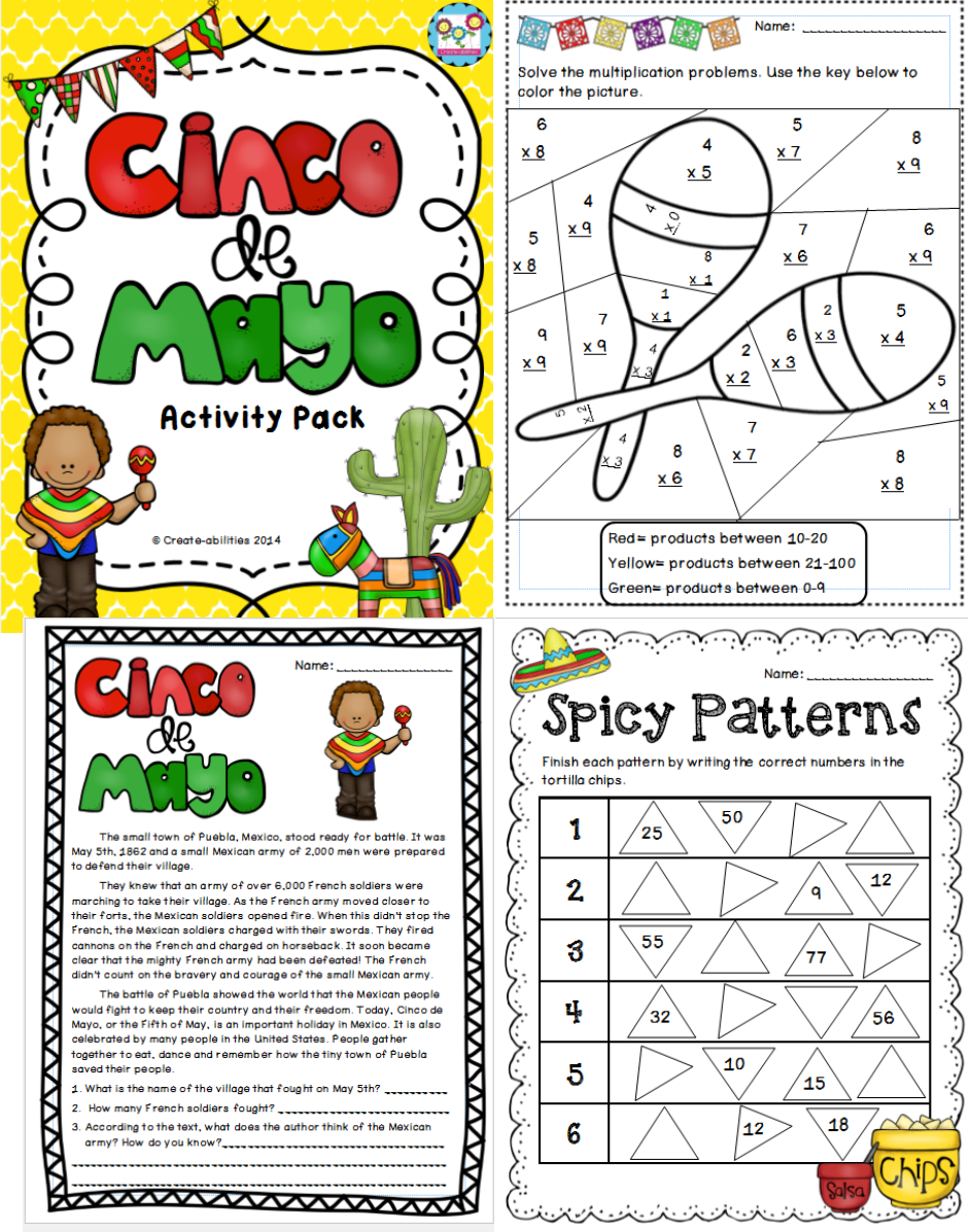 small resolution of Cinco de Mayo MEGA Pack! Tied into CCSS!!   Kindergarten worksheets
