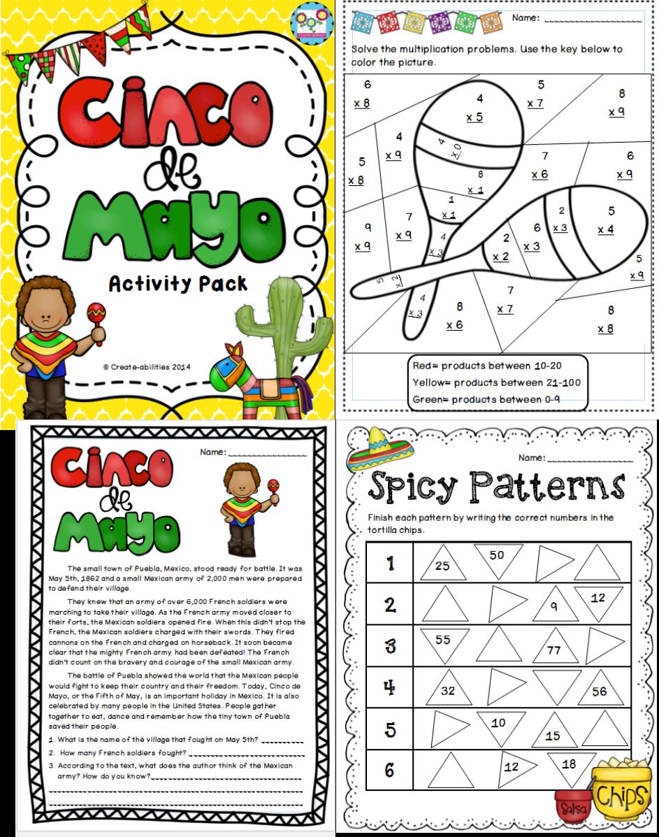 Cinco de Mayo MEGA Pack! Tied into CCSS!!   Kindergarten worksheets [ 1197 x 943 Pixel ]