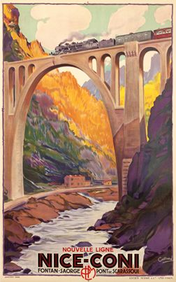 Vintage French Railways Nice to Coni Tourism Poster Print A3//A4