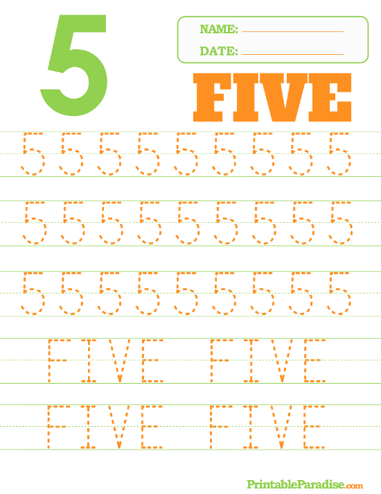 photo about Printable Number 5 named Printable Quantity 5 Tracing Worksheet Trainer Designs