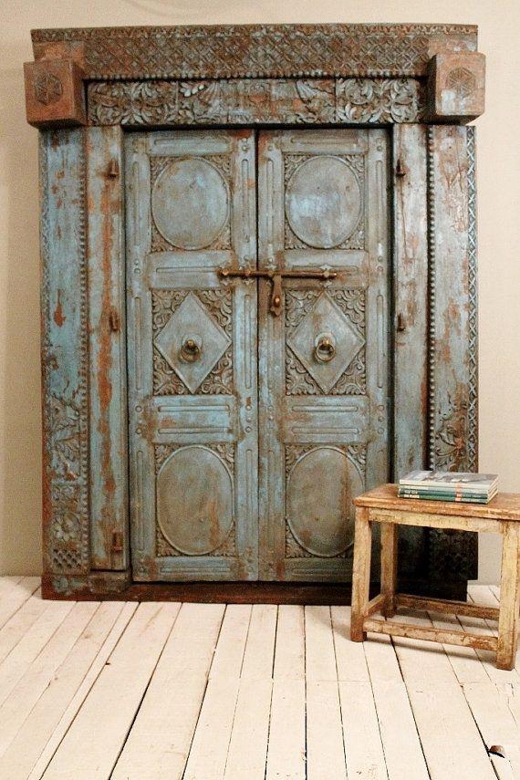 Original Antique Indian Hand Constructed Teak Wood Blue