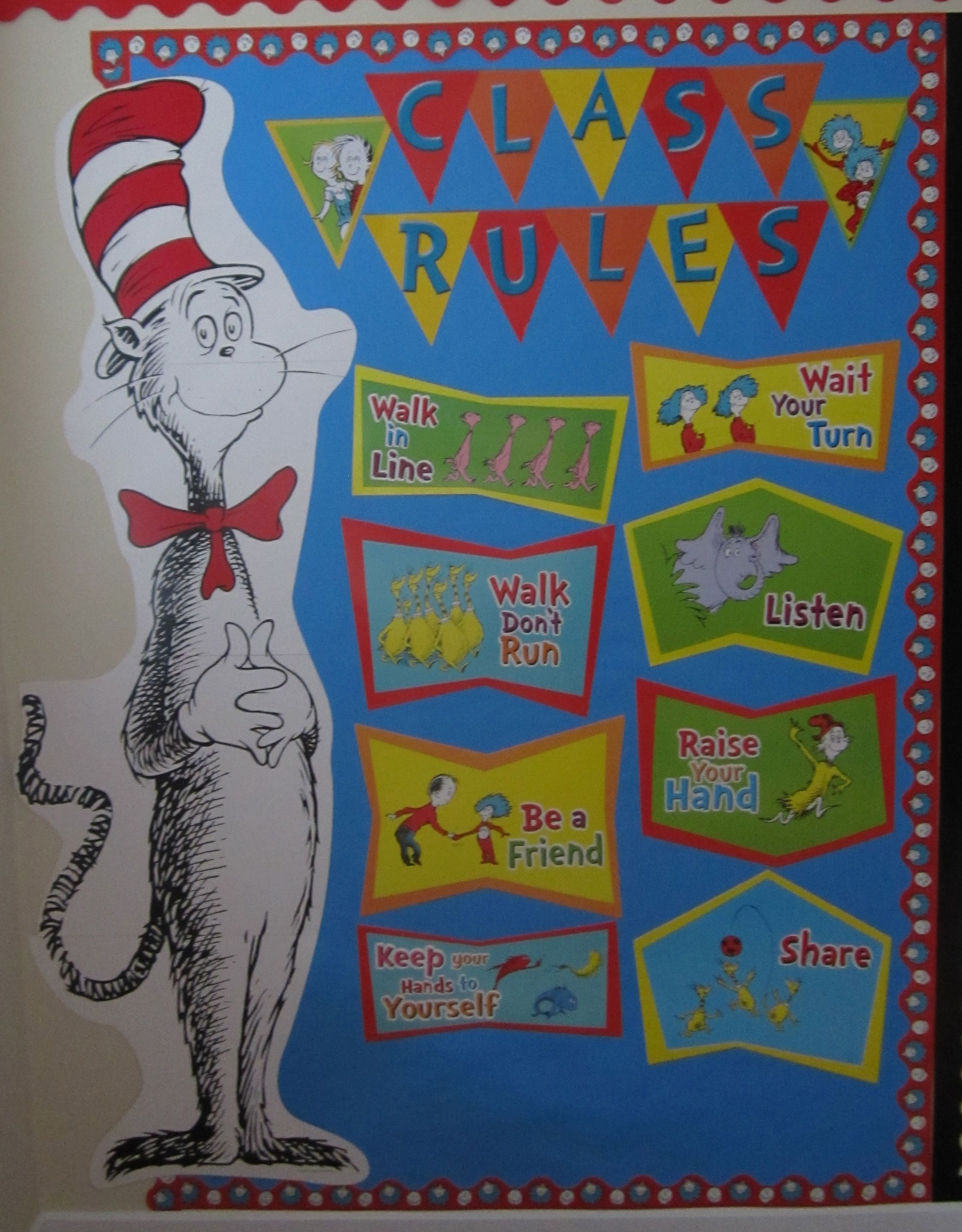 Classroom Decorations Dr Seuss : Dr seuss class rules eureka cat in the hat bulletin