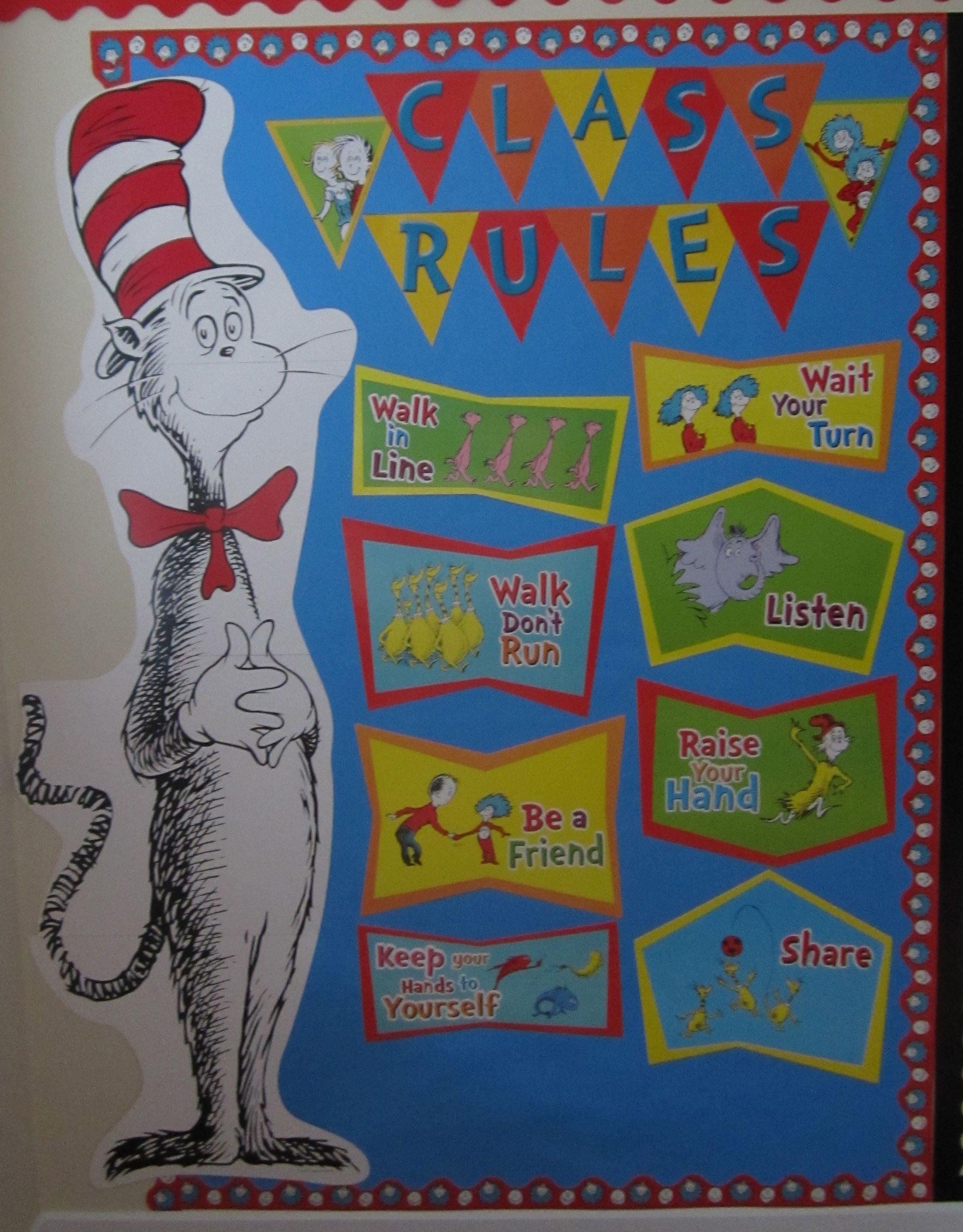 Dr Seuss Class Rules Eureka Cat In The Hat Bulletin