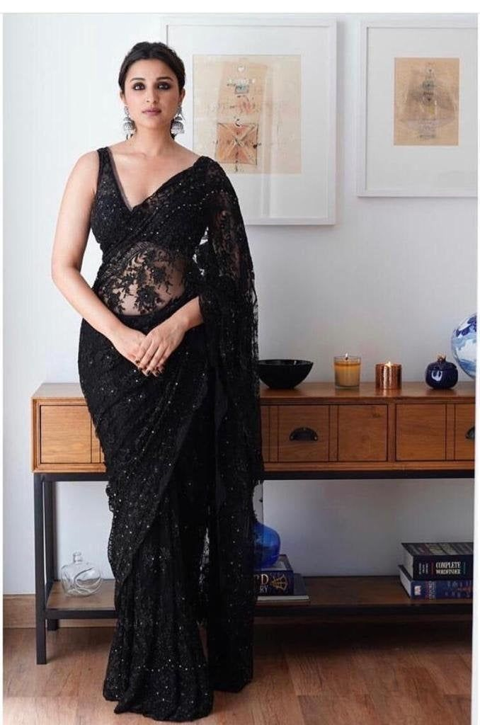 Traditional indian net saree with Embroidery work