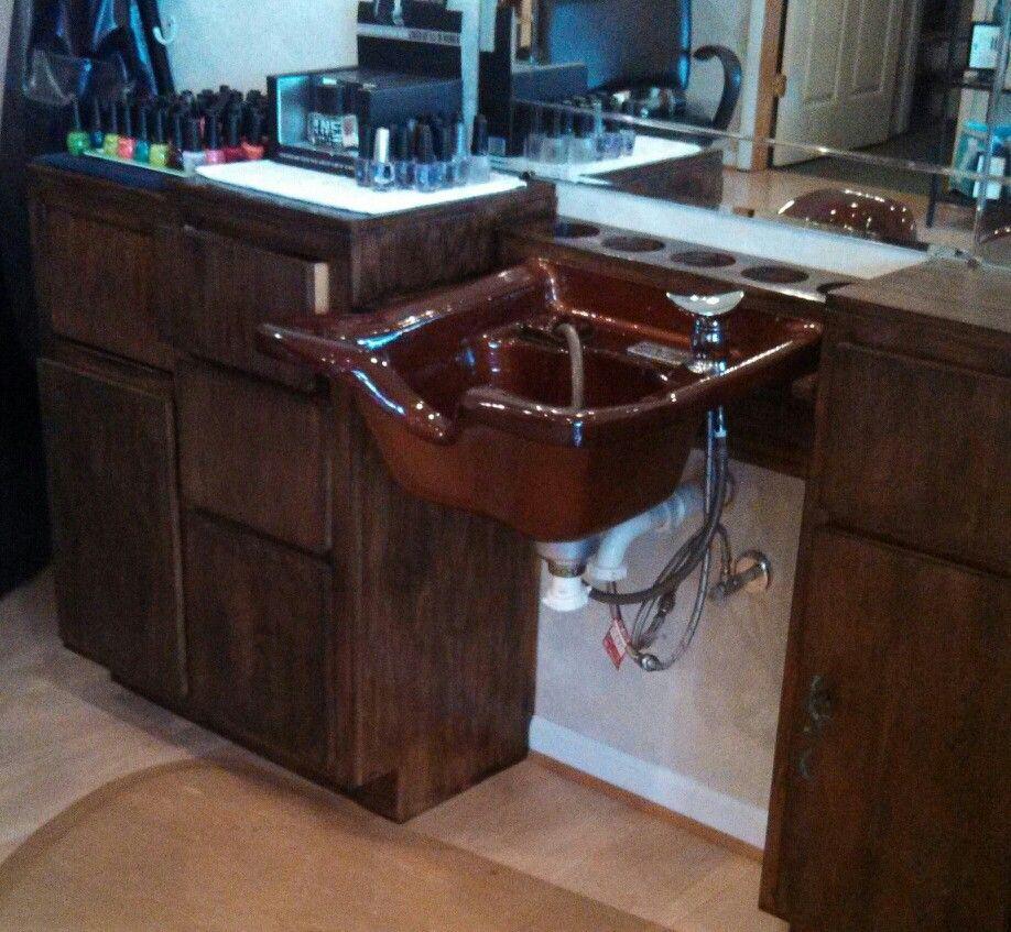 Custom Finished Copper Shampoo Bowl. Small Salon Studio Design.