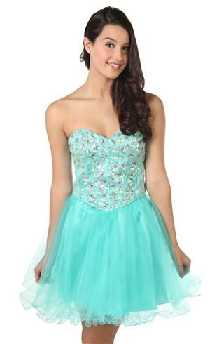 sequin and stone corset style short prom dress with a line