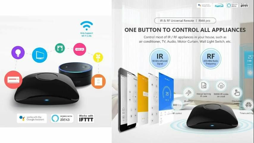 Support IR (38KHz) controlled devices such as TV, Set-up Box, A/C, Personal Video Recorder, DVD, receiver and RF (433MHz) controlled devices like curtain/shades motor and light switch. Does not work with Bluetooth. 2020 Broadlink RM Pro+ RM33 RM Mini3 WiFi+IR+RF Smart Home Universal Intelligent Remote Controller works with Alexa Google Home   #smarthome #googlehome #alexa #remotecontroller #home #coolgadget #smartgadget #techgadget