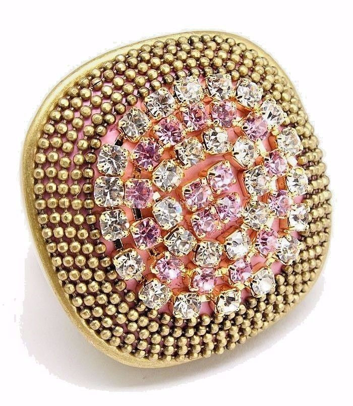 Bohemian burnished gold pink clear rhinestones stretch ring large