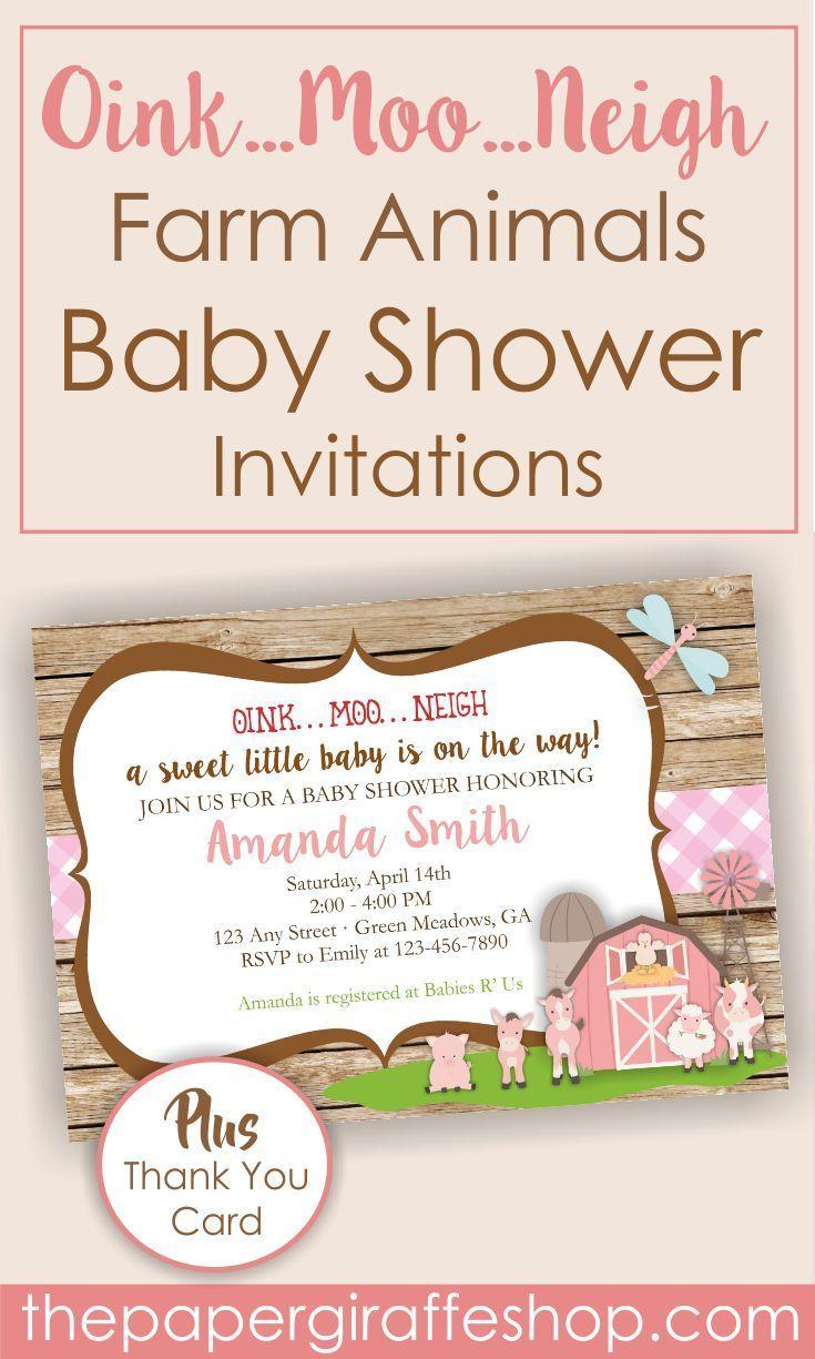 Farm Baby Shower Invitation | Farm Theme Baby Shower Invitation ...