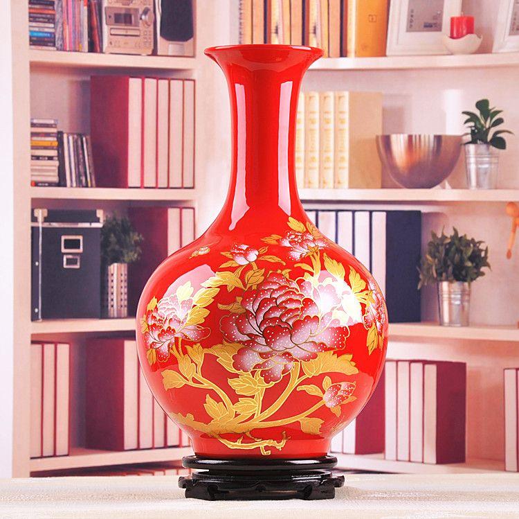 Jingdezhen ceramic vase ornaments Chinese red peony vase living room ...