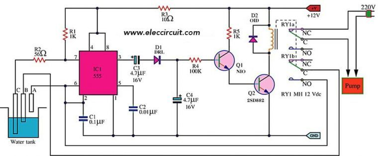 automatic water level controller sop 555 electronic circuitsimple automatic water level controller circuit using ic555 timer