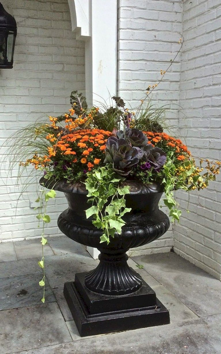 88+ Amazing Fall Container Gardening Ideas is part of Fall container gardens, Fall planters, Fall flower pots, Autumn garden, Fall containers, Fall pots - Fall is a great time to experiment and have fun with container gardens  Try different colors and textures  Think about using perennials or trying out some cool looking, cold loving annuals in your containers  Don't forget that a single plant… Continue Reading →