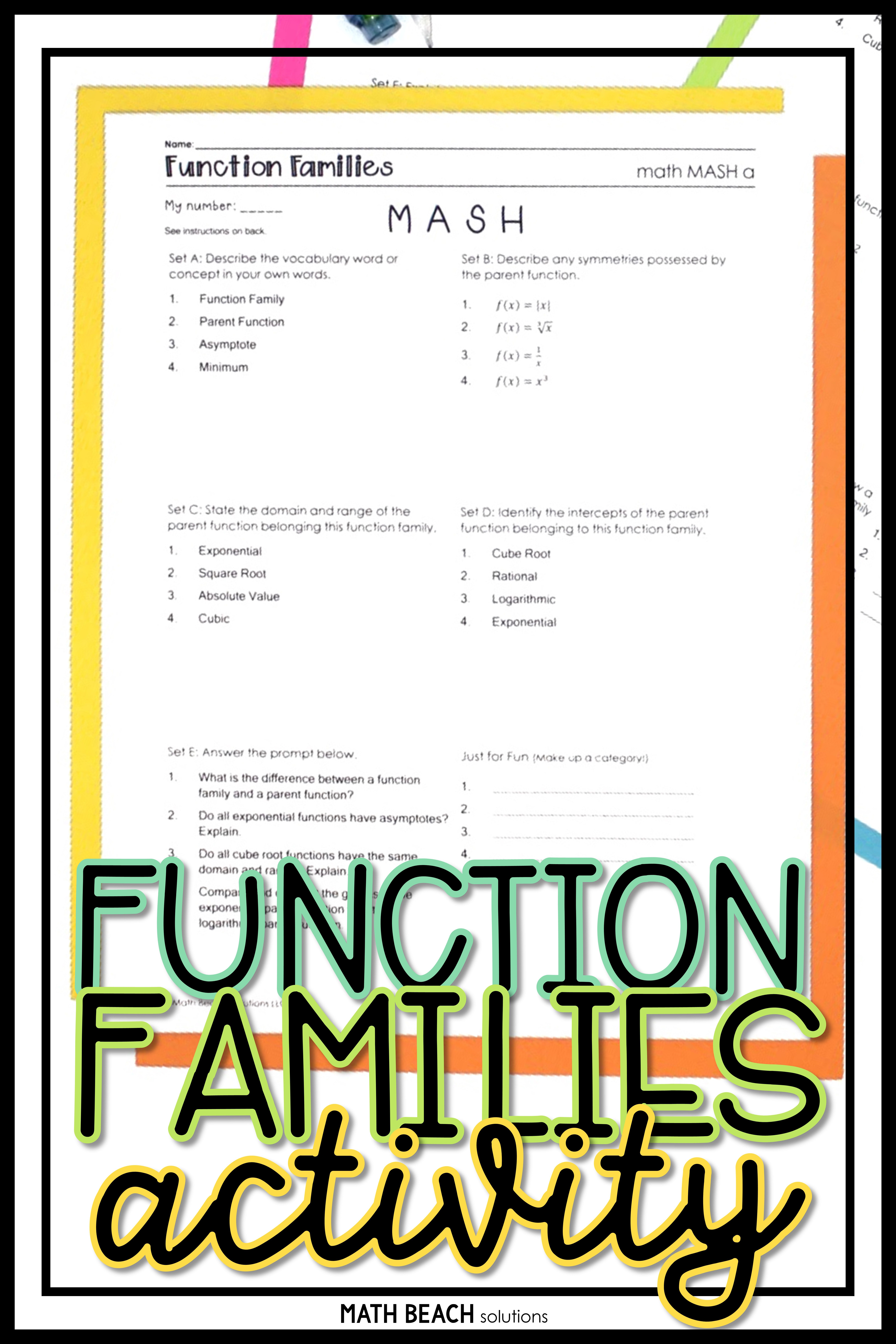 Did You Ever Play Mash As A Kid In School This Function Families Version Is A Fun Way To Create Custom Func Parent Functions Functions Math Algebra Activities