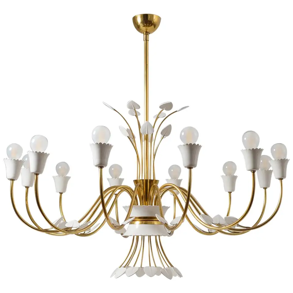 For Sale On 1stdibs Rare Grand 12 Arm Italian Brass Chandelier From The Late 1940s Attributed To Early Stilnovo Produ