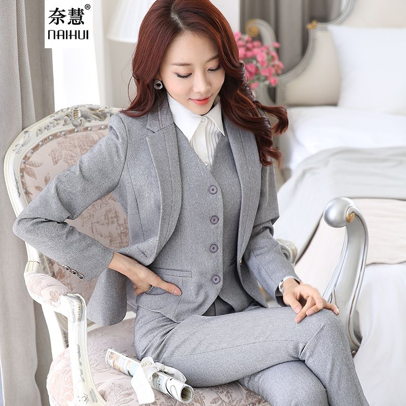 2016 Professional Formal Pantsuits Ladies Business Women Suits 3 ...