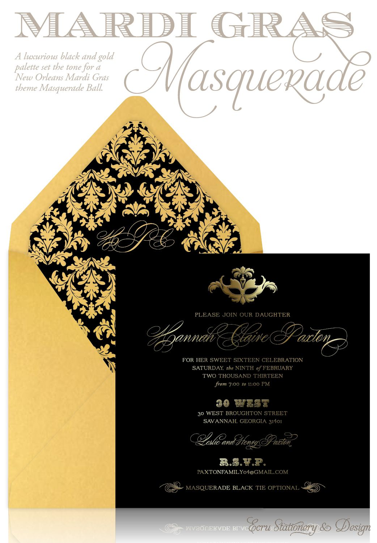 Custom black and gold masquerade party sweet 16 invitation by ecru mardi gras masquerade black and gold sweet sixteen invitation by ecru stationery design monicamarmolfo Choice Image