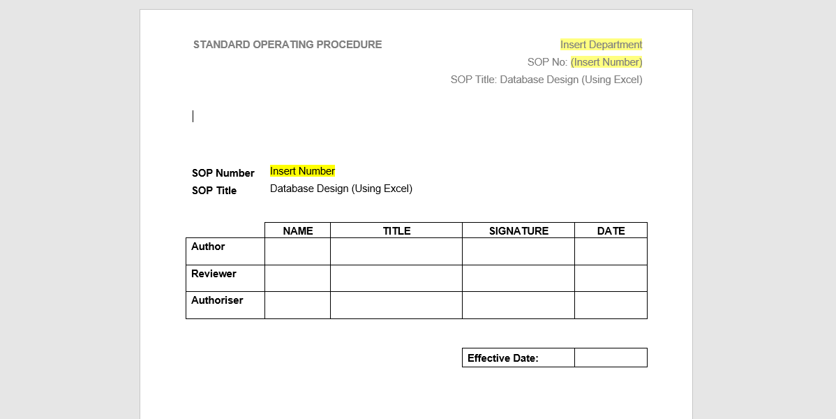 Sop Template Database  Process Street    Standard