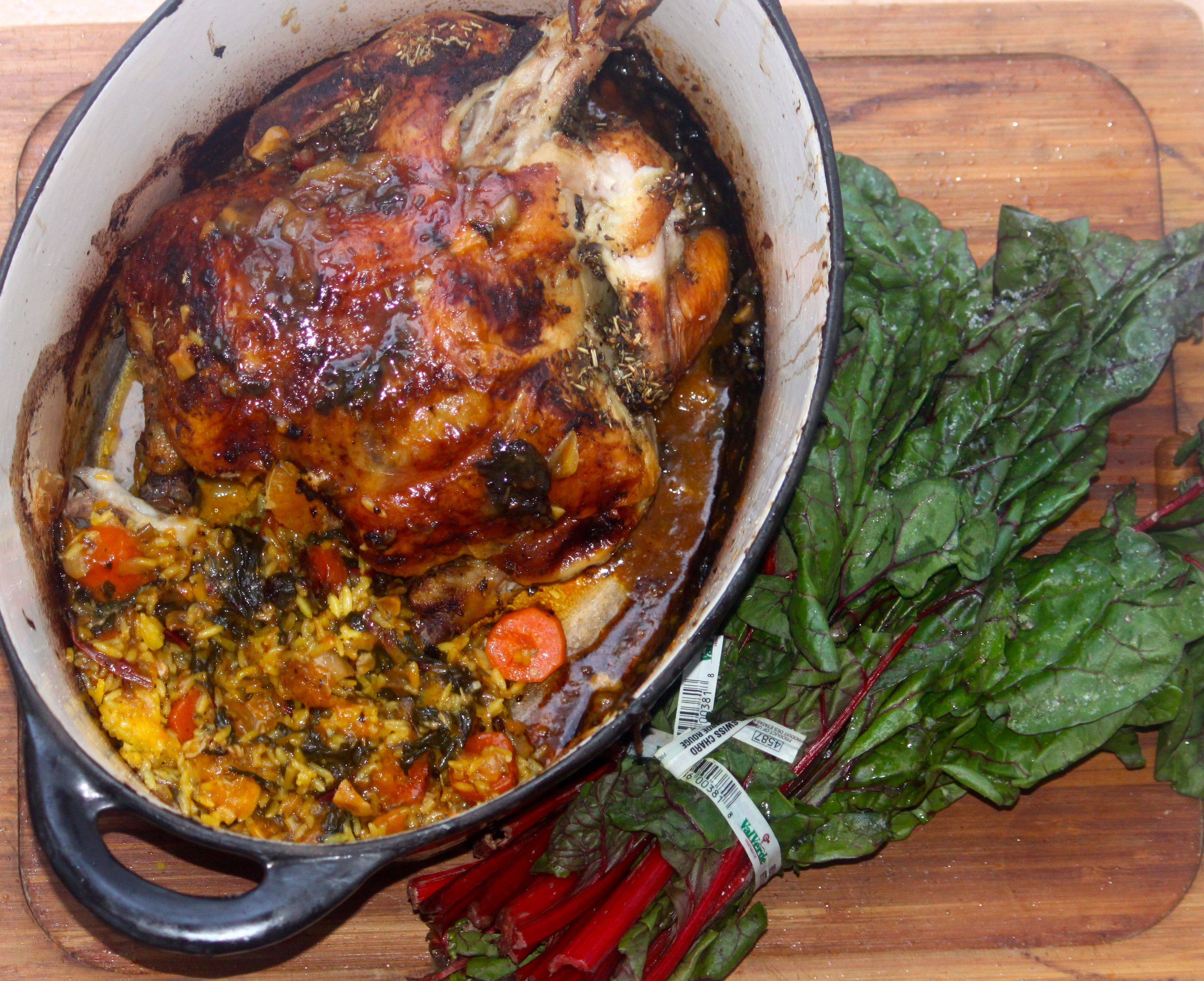 Cocina Kosher Roasted Chicken 2 With Clementines Over Yellow Rice