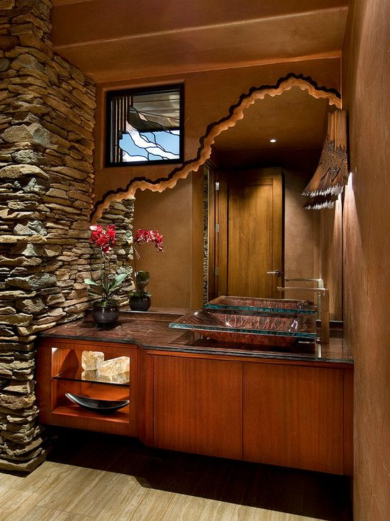 Unique Powder Rooms Part - 21: Alluring Desert House Employing Natural Contemporary Concept : Fabulous Powder  Room Exposed Stone Wall Desert Contemporary