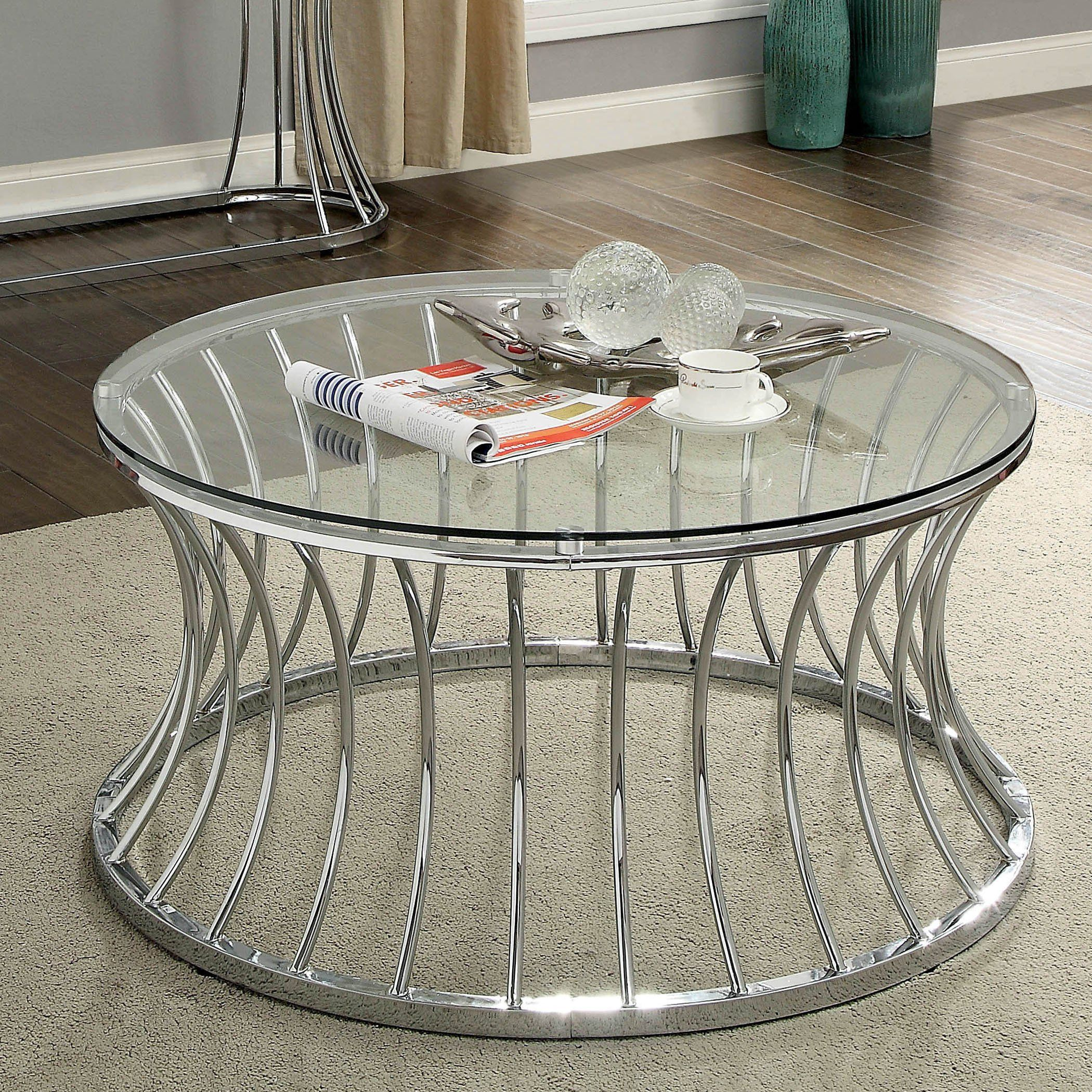 Furniture Of America Breckenwald Contemporary Round Coffee Table Chrome Silver Round Metal Coffee Table Coffee Table Round Coffee Table [ 2100 x 2100 Pixel ]