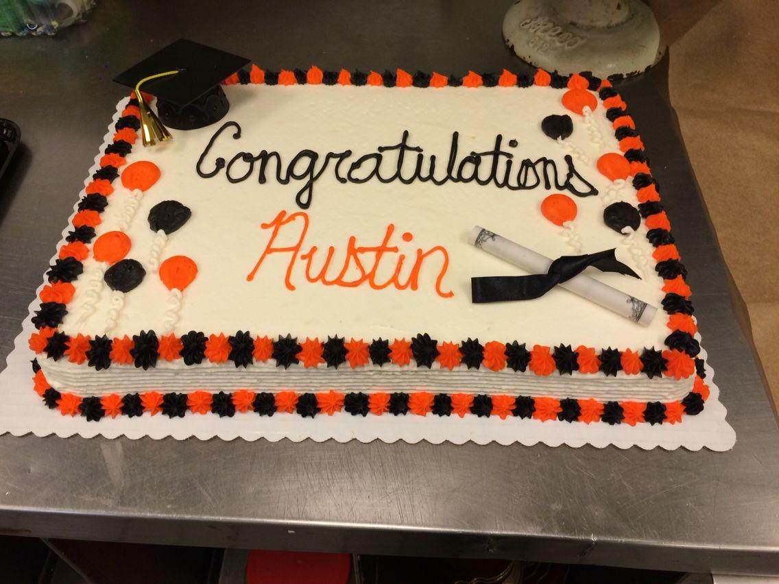 Orange And Black Buttercream Graduation Cake Graduation Cakes