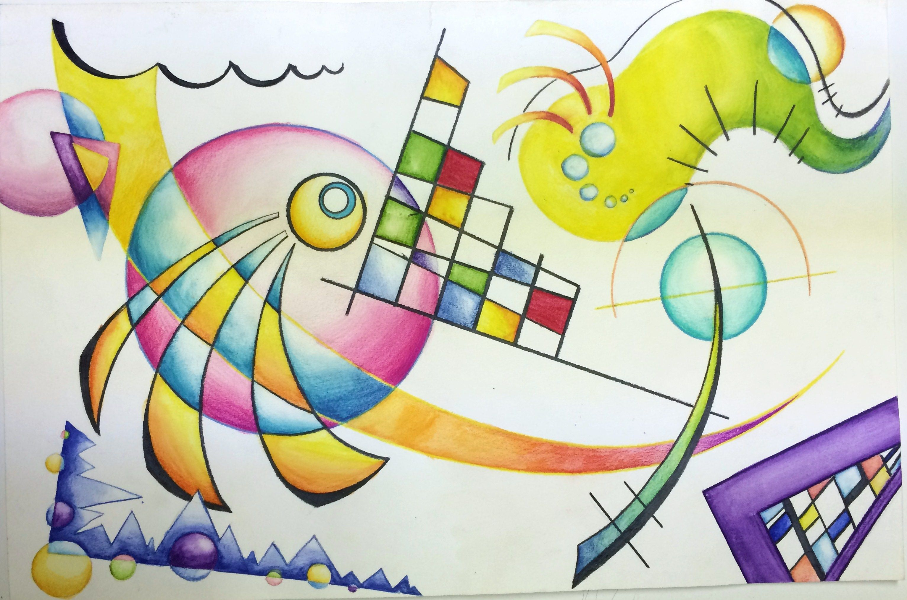 Wassily Kandinsky Non Objective Color Pencil And Watercolor Pencil
