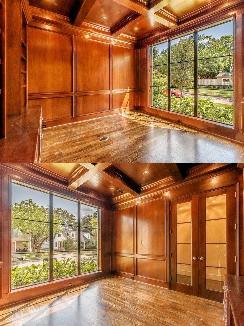 Study Room Mid Sized Traditional Medium Tone Wood Floor And