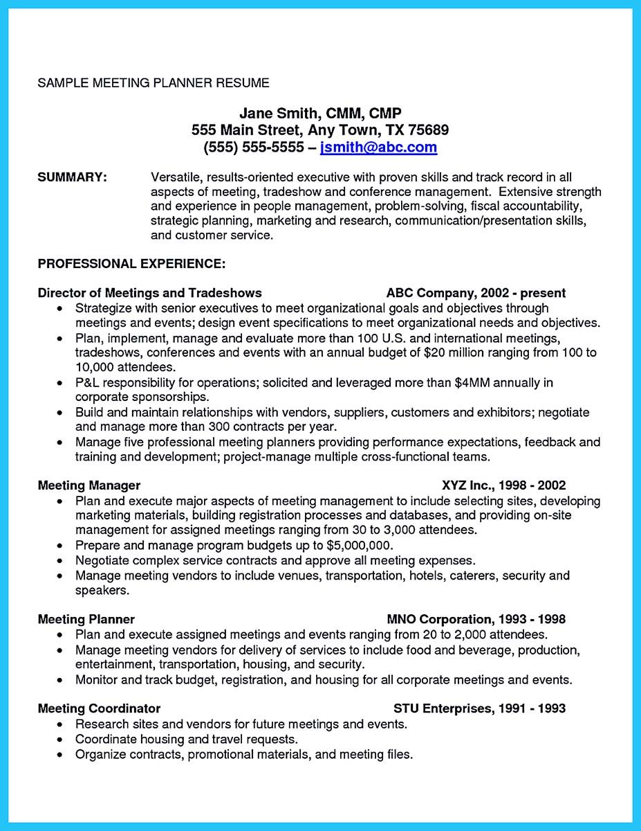 When You Want To Write An Affiliations Resume You Need To Create It Clearly And Briefly It Is Good If Meeting Planner Event Planning Jobs Event Planner Resume