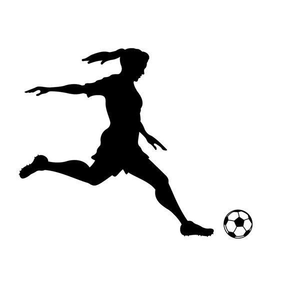 Girl Soccer Silhouette Vector Girl Soccer Player Kic...
