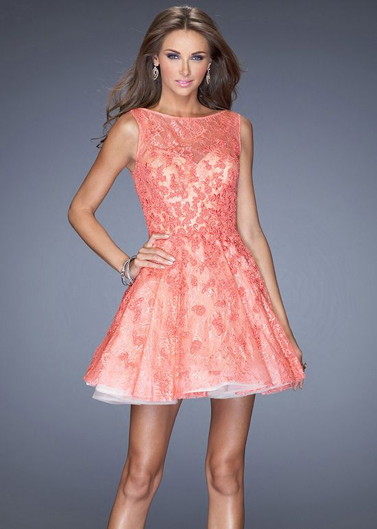 Hot Coral Nude A Line High Neck Lace Layered Short Party Dress ...