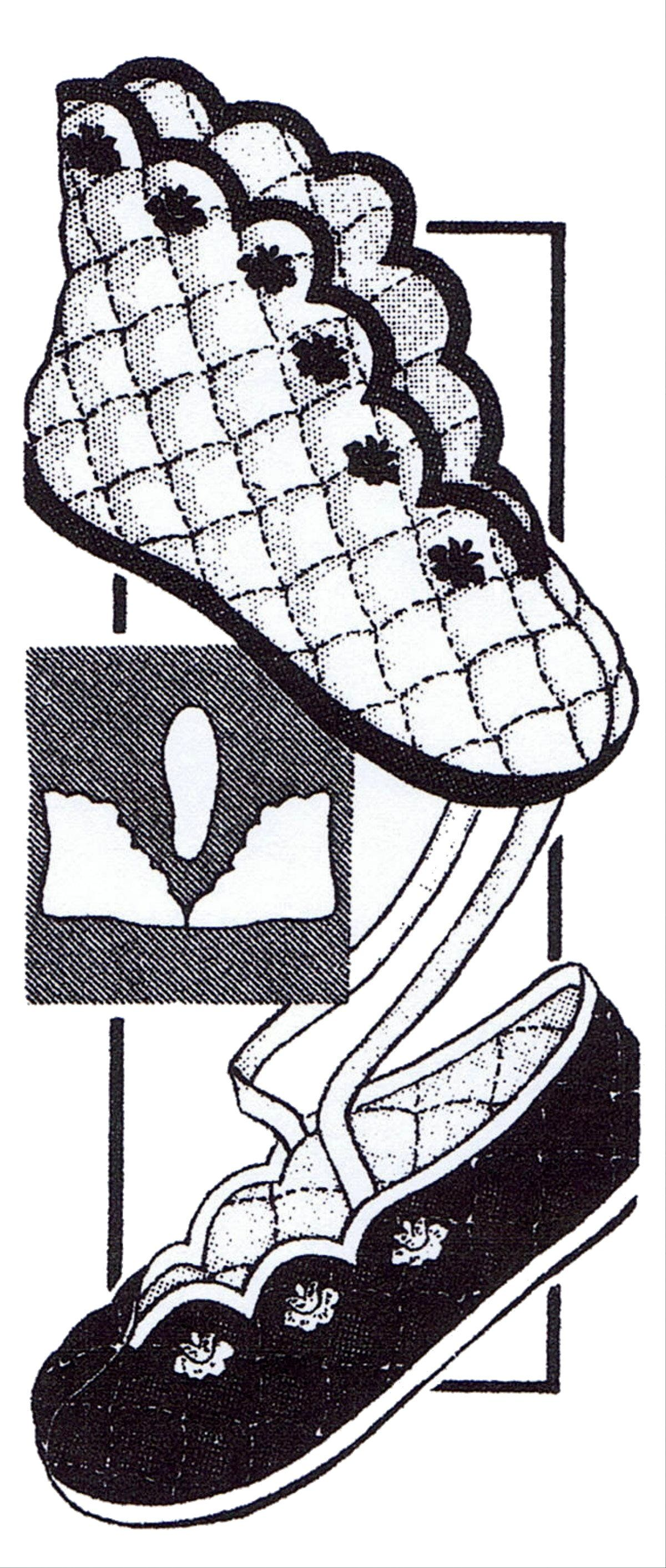 BALLET SLIPPERS Quilted COZY Shoe S-M-L-XL Design 553 Mail Order Fabric Pattern