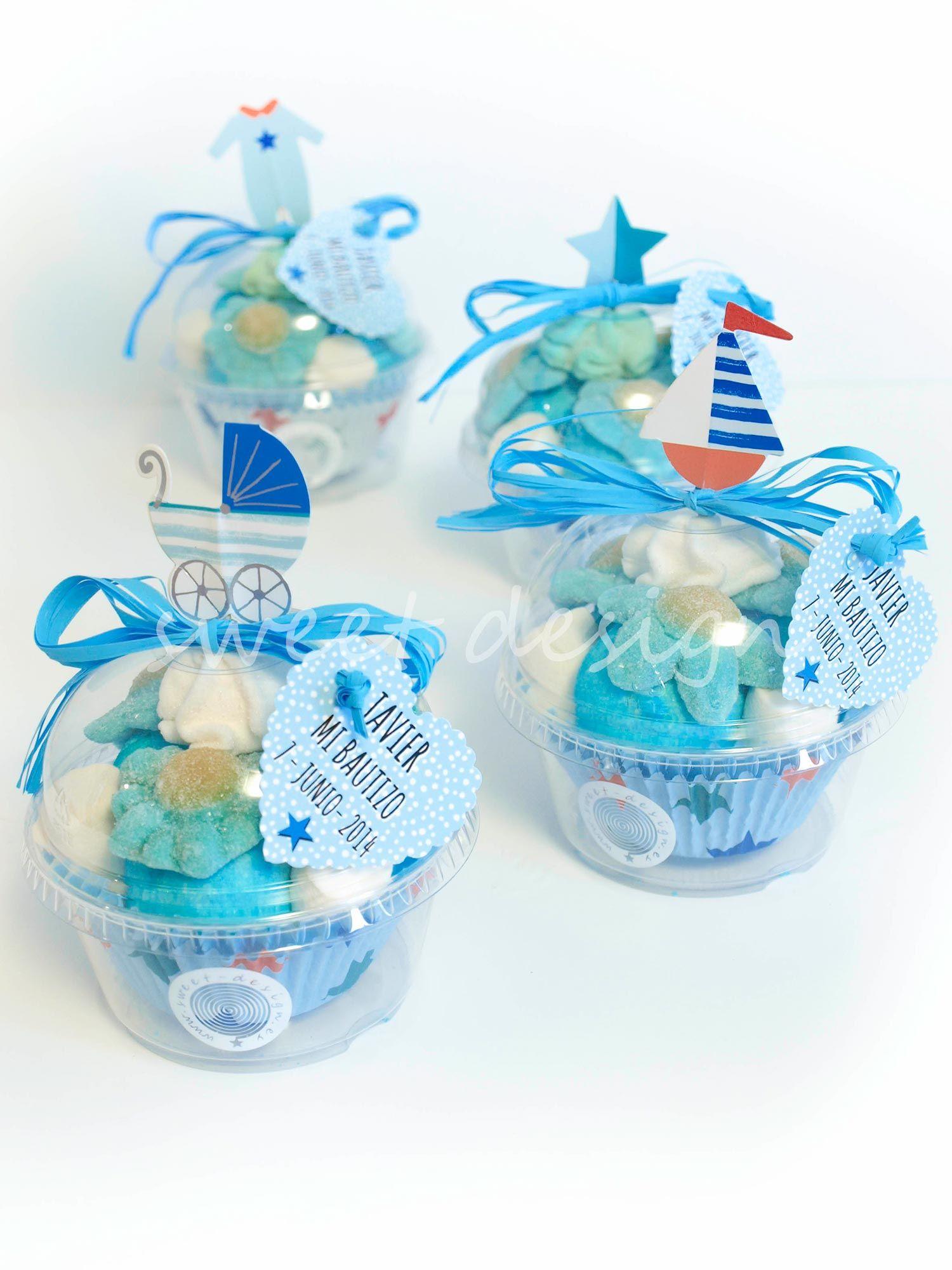 Recuerdos Para Bautizo Nino Con Dulces.Vasito Cupcake De Bebe Azul Otono Baby Shower Recuerdos