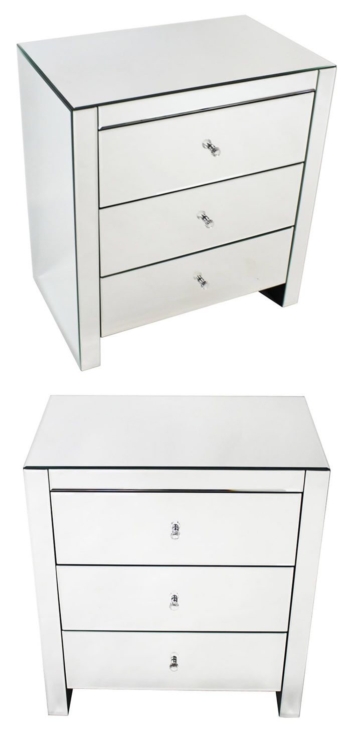 Mirrored Bedside Table With Drawers: Bedside Table Option Venetian Mirrored 3 Drawer Wide
