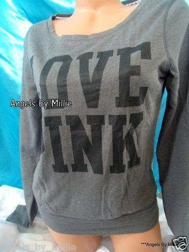 New Victoria Secret Pink M Charcoal Gray Lightweight Signature Crew sweat Shirt | eBay