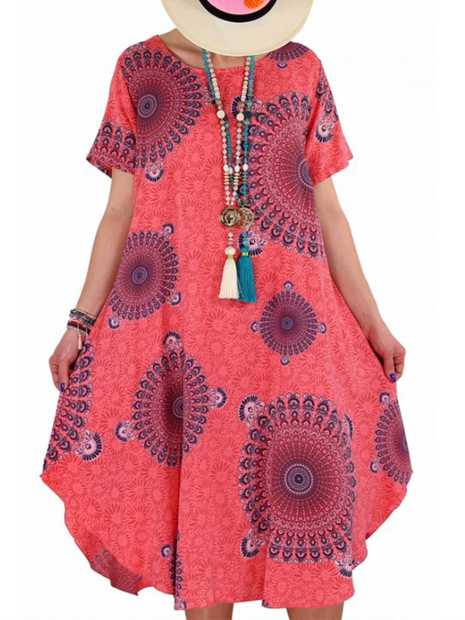 Lallc Plus Size Women Short Sleeve Floral Mini Dress Walmart Com Short Sleeve Dresses Pink Dress Casual Dresses Casual Spring Summer [ 2000 x 1500 Pixel ]