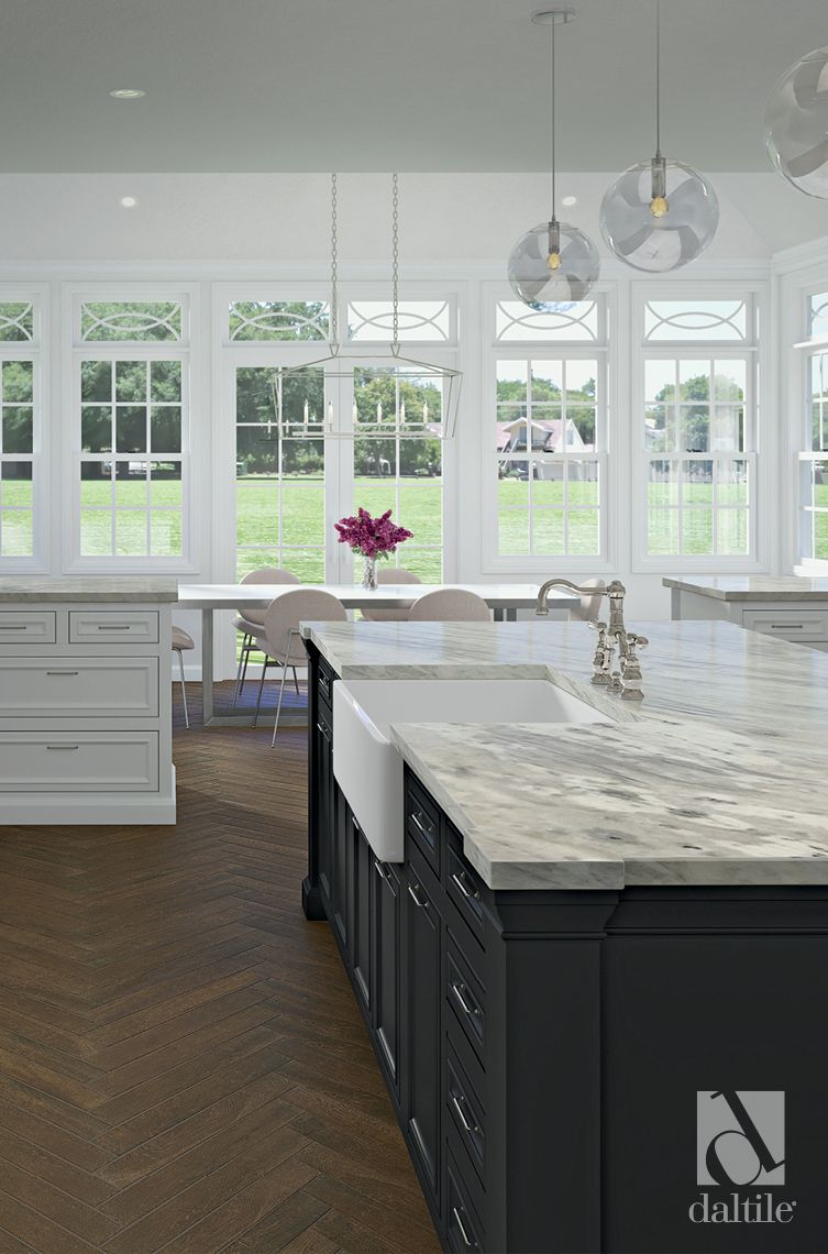 Marble Countertops And Wood Look Tile Are Like Wine And Cheese