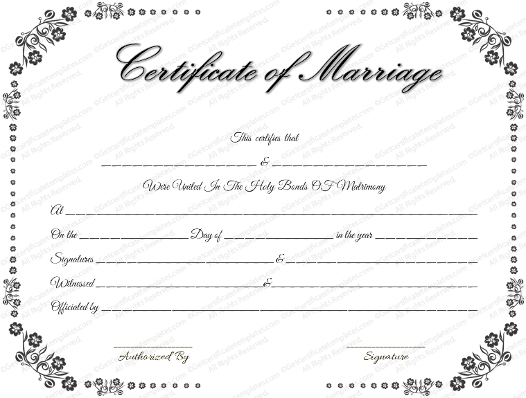 Download blank marriage certificates printable wedding certificate vintage flowers marriage certificate template yadclub Images