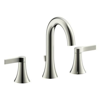 Photo of Fontaine by Italia Fontaine Varenne Modern 8 inches. Widespread 2-handle bathroom mixer with drain made of brushed nickel MFF-VARW8-BN – The Home Depot