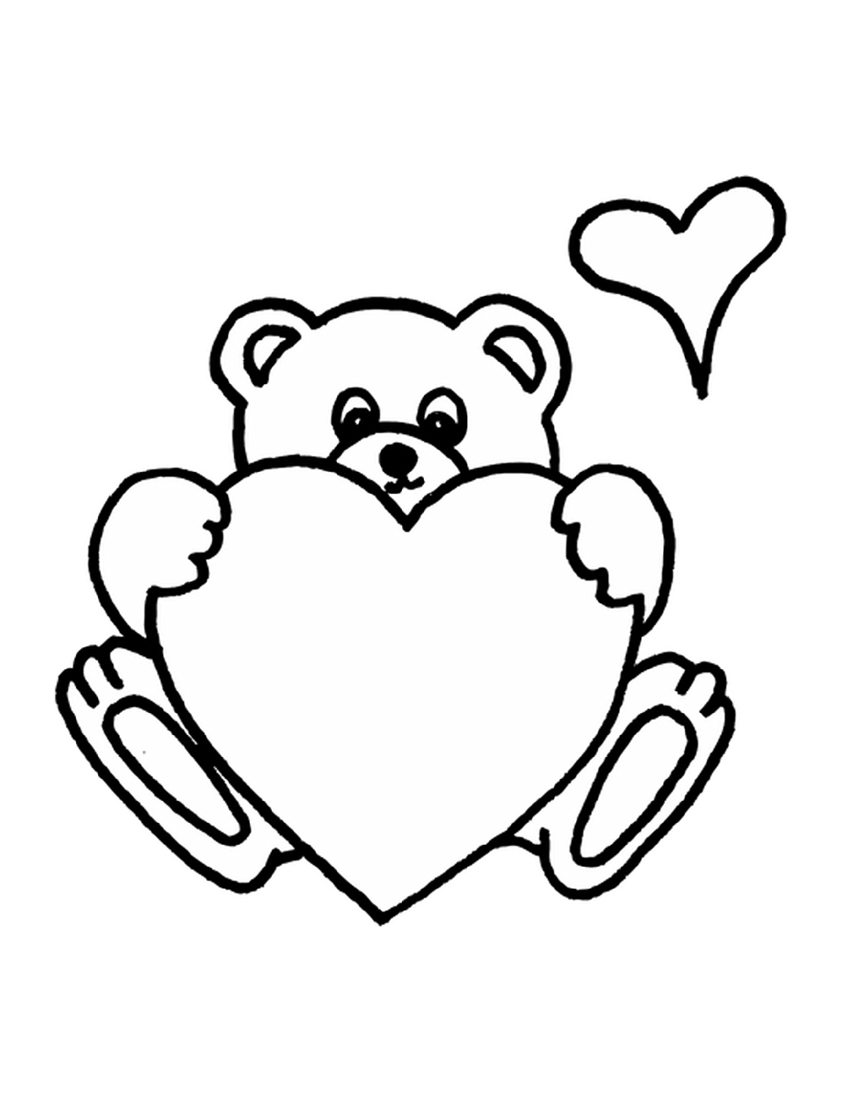 Teddy Bear Coloring Pages to Print Heart coloring pages