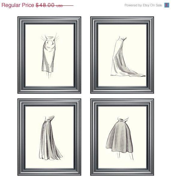 On Sale Vintage Fashion Sketches Four 8x10 Prints 36 00 Via Etsy Vintage Fashion Sketches Fashion Wall Art Fashion Sketches