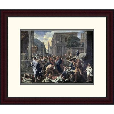 """Global Gallery 'Plague on Ashdod in 1030 B.C.' by Nicolas Poussin Framed Painting Print Size: 19.81"""" H x 24"""" W x 1.5"""" D"""