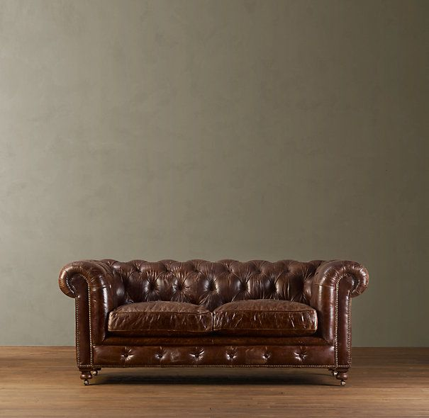 Kensington Chesterfield Style Sofa, Luxe Depth, In Vintage Cigar Leather.