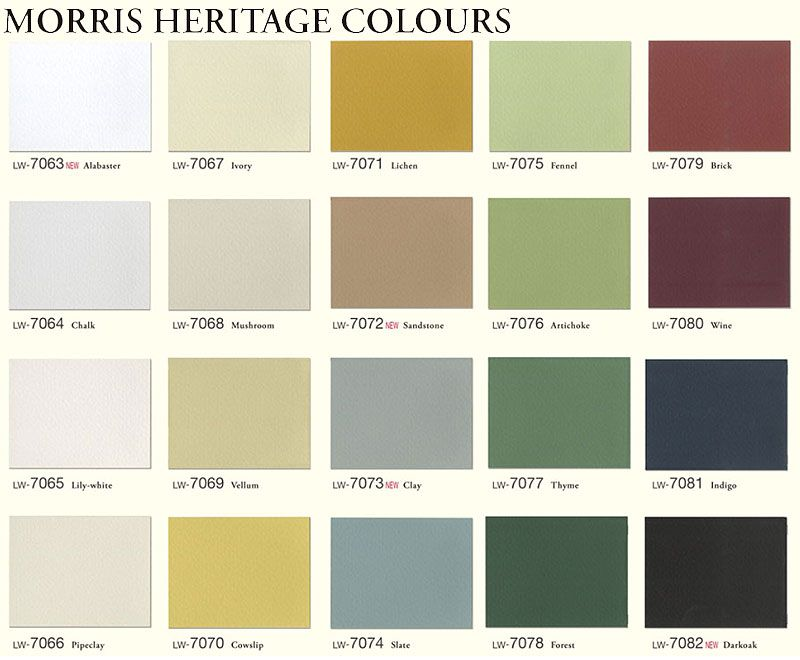 Morris Heritage Colours Green Color Schemes Room Colors