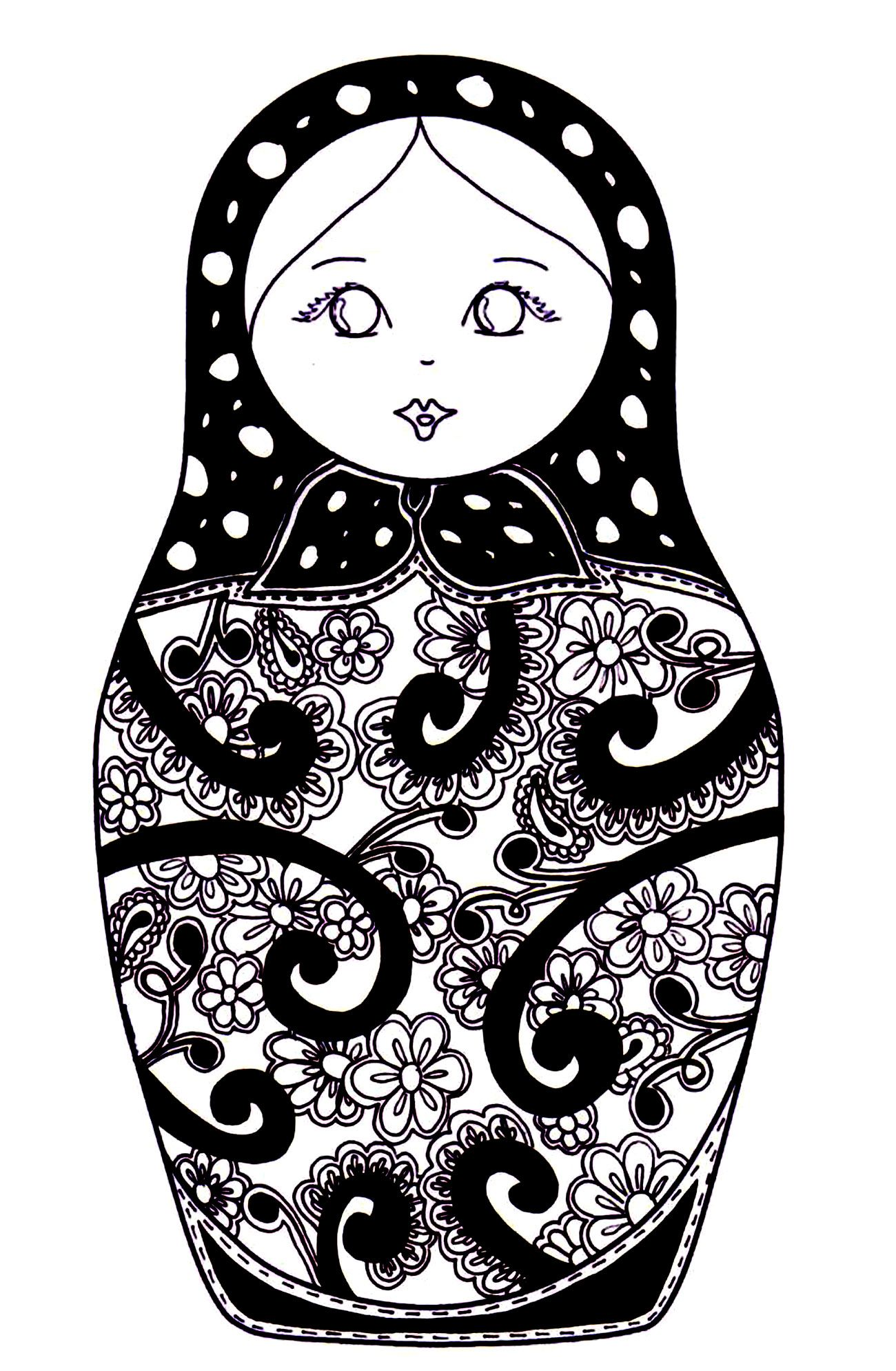 Free Coloring Page Coloring Russian Dolls 10