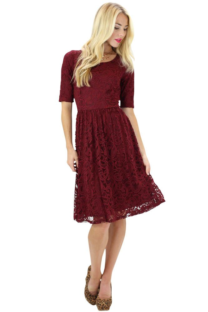 357cb65345b05 Modest Dresses: Samantha Lace Dress in Burgundy | Wedding Ideas ...