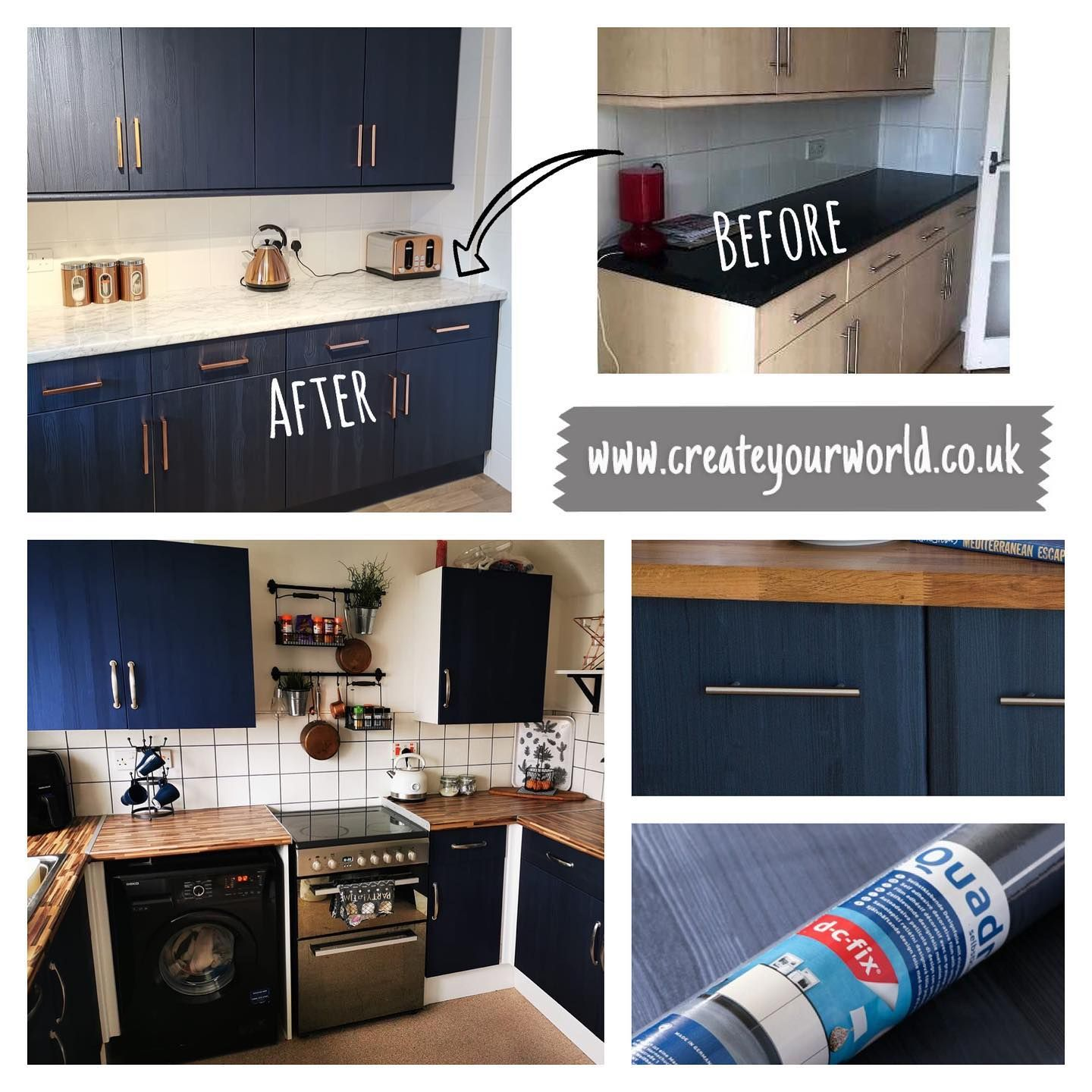 Get That Navy Blue Kitchen You Ve Been Dreaming About For Only 40 Amazing Value For This High Quality Vinyl Call In 2020 Sticky Back Plastic Vinyl Wrap Kitchen Wrap