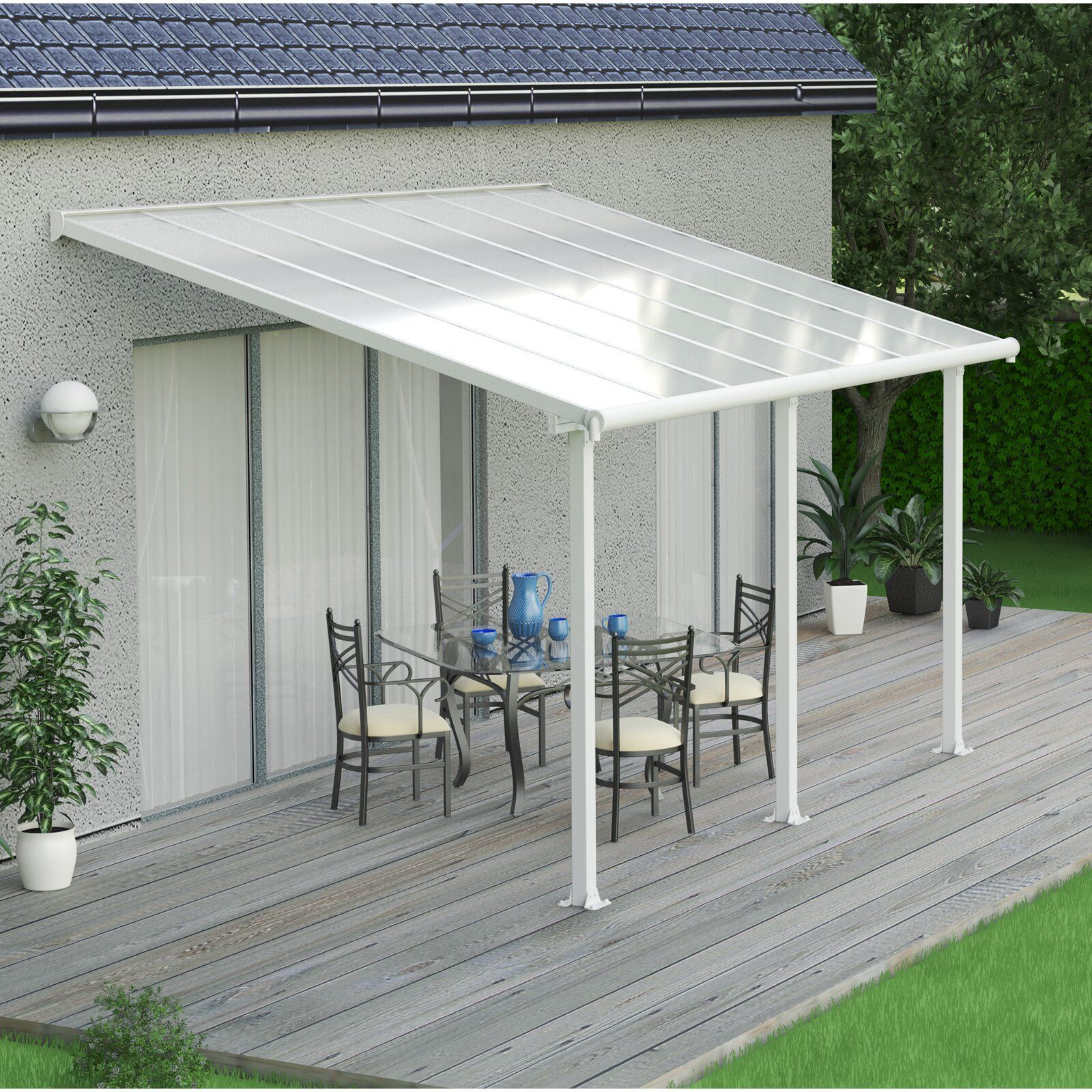 Palram Olympia Plastic Standard Patio Awning Reviews Wayfair In 2020 Pergola Patio Patio Pergola Designs