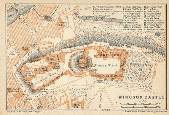 1930 Antique Map of Windsor Castle England United Kingdom